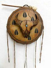 Hand~Made Handpainted Drum with Gourd Cow Skull Apache Artist Robert Rivera
