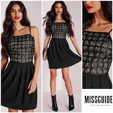 MISSGUIDED  FAUX LEATHER LACE GRID  SKATER  DRESS   Sz 8 UK 12   NEW  Nordstrom