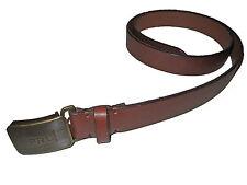 Polo Ralph Lauren Slim Brown Leather Antique Brass Monogram Buckle Belt 42