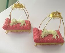 Lot Of 2 Pampered  Cat - 2007 Hallmark Ornament  White Kitten On Chaise