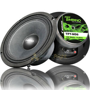 "Timpano Pro Audio 8"" Mid Range Loudspeaker 450W Max Power 8 Ohm TPT-MD8 2 Pack"