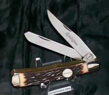 "Remington Trapper Stag Appearance SFO By Camillus USA 1980's 4-1/8"" Closed Rare"