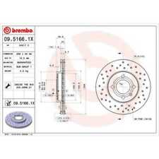 BREMBO 2x Bremsscheiben Gelocht/innenbel. beschichtet 09.5166.1X