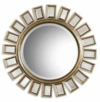 "Brilliant 34"" Sunburst Starburst Wall Mirror HORCHOW Large Mirrored Rays Silver"