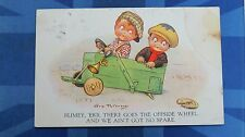 Vintage Comic Postcard 1930s Soap Box Cart Derby Race Car Soapbox Spare Wheel