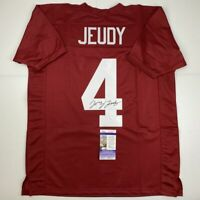 Autographed/Signed JERRY JEUDY Alabama Red College Football Jersey JSA COA Auto