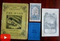 Juvenile chap books c.1840-50's woodcuts lot x 4 Birds Animals Children in Woods