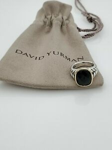 David Yurman 14x12mm Noblesse Ring with Black Onyx and 18k yellow gold size 7
