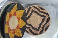 "Handwoven bread basket 12"" Sunflower Bohemian Ethnic African rattan Traditional"