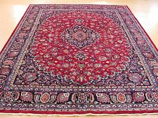 10 x 13 Persian Mashad Hand Knotted Wool Trditional Red Navy Oriental Rug Carpet