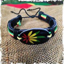 Rasta Leather Wrist Cuff Canna Weed Leaf Emblem Wrist Bracelet Bob Reggae IRIE