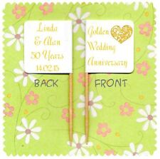 20 PERSONALISED GOLDEN WEDDING 50TH ANNIVERSARY CUP CAKE FLAG Topper Decoration