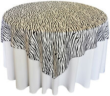 "10 Zebra Table Overlays 58"" X 58"" Square Tablecloths Flocking Taffeta  Animal"