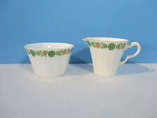 Adderley Creamer Sugar Bowl Bone China England White Green Flowers Set of 2