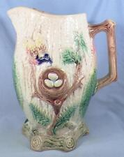 Antique Majolica Bird's Nest Pitcher Robin Eggs Leaves 9.5in. As Is Large