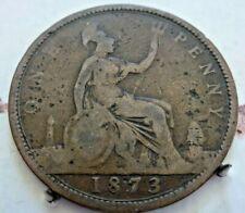 1873 PENNY IN FINE GRADE QUEEN VICTORIA BUN/YOUNG HEAD (CB67)