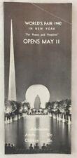 Orig 1940 New York World Fair Opening Brochure Art Deco NY