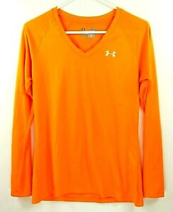 Under Armour Womens Dri Fit Longsleeves Orange Semi Fitted Size Small