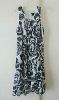 womens gray ANN TAYLOR dress floral lightweight sundress sleeveless petite 10P