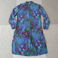 Tianello Rayon Top long sleeve size XS Floral print blue button down blouse