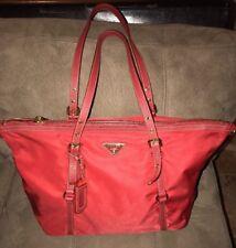 Prada Red Semitracolla Saffiano Leather & Nylon Handbag Tote