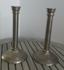 Set of 2 Taper Candlestick Holders Brass Embossed Ribbed Thumbprint Base