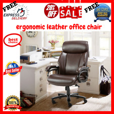 High Back Leather Executive Office Chair With Arms And Lumbar Support Floor Mat