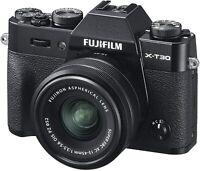 Fujifilm X-T30 Mirrorless Digital Camera Black Fujinon XC15-45mm Lens Kit Bundle
