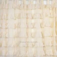 Shabby French Petticoat Ruffle Curtains Drapes Sheer Ivory 2 Ruffled Panels Chic