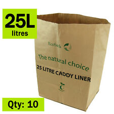 Paper Compostable Kitchen Caddy Bags - Ecosack 10x 25 L - Paper Sacks Bags