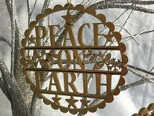 Gold Glitter Christmas Tree Decoration Sign Vintage Silent Night Gisela Graham