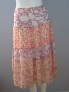 YZZA Size 4 Pink Floral Fully-Lined Boho Skirt