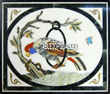 18'' Center Top White Marble Coffee Table Stone Inlay Parrot Design Decor H3974A