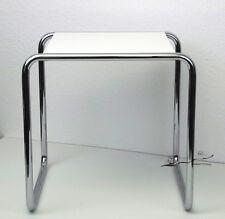 Bauhaus de Dessau-Marcel Breuer-tabouret/table B 9a-Blanc-tube d'acier classique