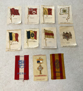 Antique Cigarette Egyptienne Straights Silks Flags Lot Belgium Baden Tripoli