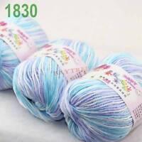 SALE 3 balls x50gr Cashmere Silk velvet Hand Knitting baby Yarn White blue 1830