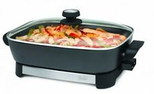 16in Electric Skillet, Cookware Cool Touch Glass Stainless Steel Black Large New