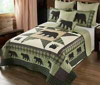 BEAR STAR BLACK PAW Full Queen QUILT SET : COUNTRY 8 POINT CABIN WILDLIFE LODGE