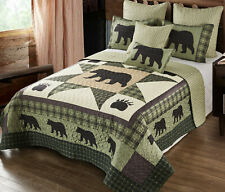 Bear Star Black Paw 3pc King Quilt Set : Country 8 Point Cabin Wildlife Lodge