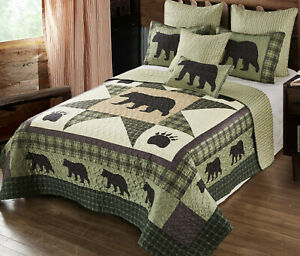 BEAR STAR BLACK PAW 2pc Twin QUILT SET : COUNTRY 8 POINT CABIN WILDLIFE LODGE