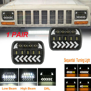 "7x6"" LED Headlight Sequential Turn Hi Lo Beam DRL For Chevrolet Jeep Cherokee XJ"