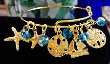 Sand dollars Star Fish & Sail Boat Gold Plated charm Expandable Bangle Bracelet