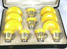 Mappin & Webb Sterling Silver Royal Doulton Demitasse Cups & Saucers Cased 1947