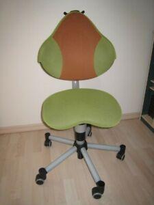 PAIDI Bürostuhl, Drehstuhl für Kinder, Bezug grün/orange, mit Hartbodenrollen