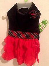"New Pet Dog Costume Party/Christmas Dress Sz M 13""-15"" Black Velour Red Frills"