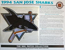 Willabee & Ward ~ Nhl Throwback Hockey Patch & Info Card ~ 1994 San Jose Sharks