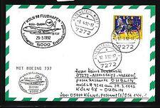 78465) LH FF Köln - Dublin Irland 29.3.92, Karte FDC 1600 Zirkus