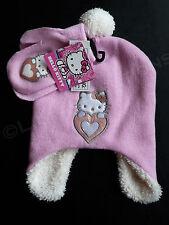 HELLO KITTY Light Pink Winter Hat & Mittens Set Heart Pom SOFT NWT SANRIO OSFM