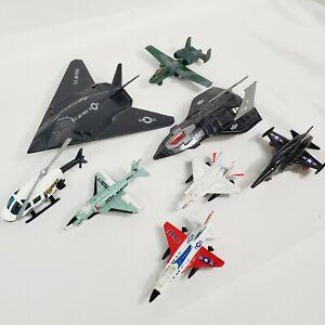 Lot (8) Vtg 1980's Jet Diecast Planes Ertl, Hot Wheels, Stealth, USAF, Navy