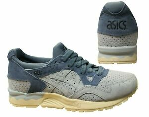 Asics Gel-Lyte V Sky Blue Leather Lace Up Casual Mens Trainers HL7K1 3939 Z11A